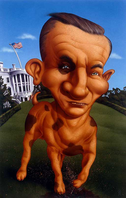 Ross Perot as a dog seeking the White House illustration